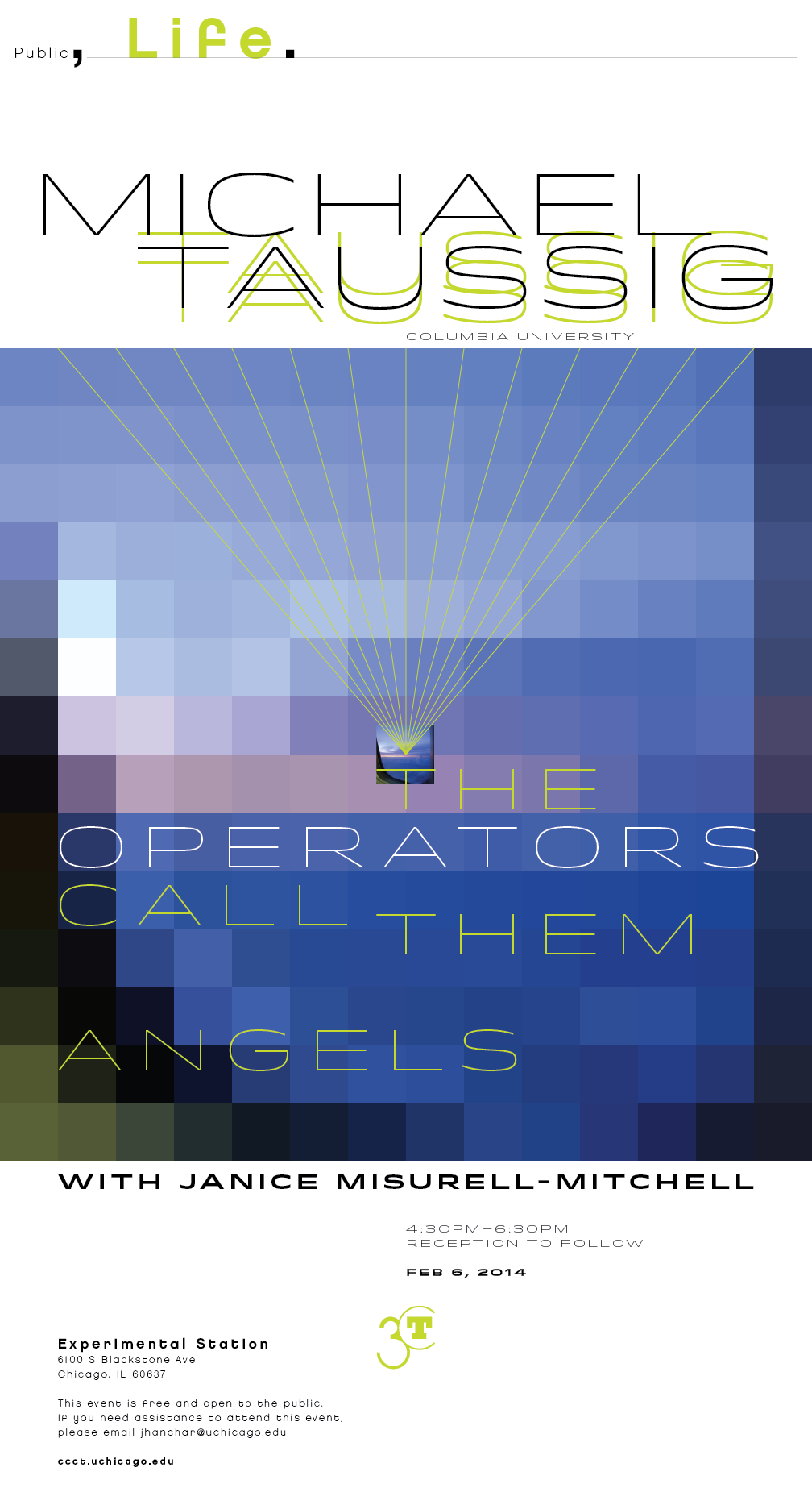 Michael Taussig event poster, The Operators Call them Angels