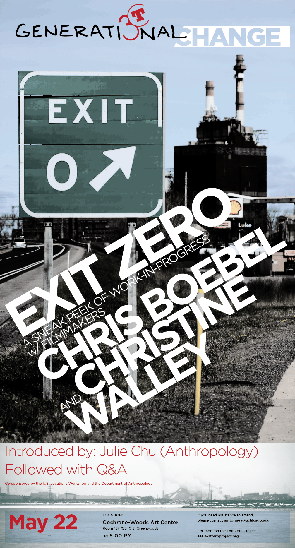 Event poster for Exit Zero symposium with Chris Boebel and Christine Walley at the Cochrane-Woods Art Center