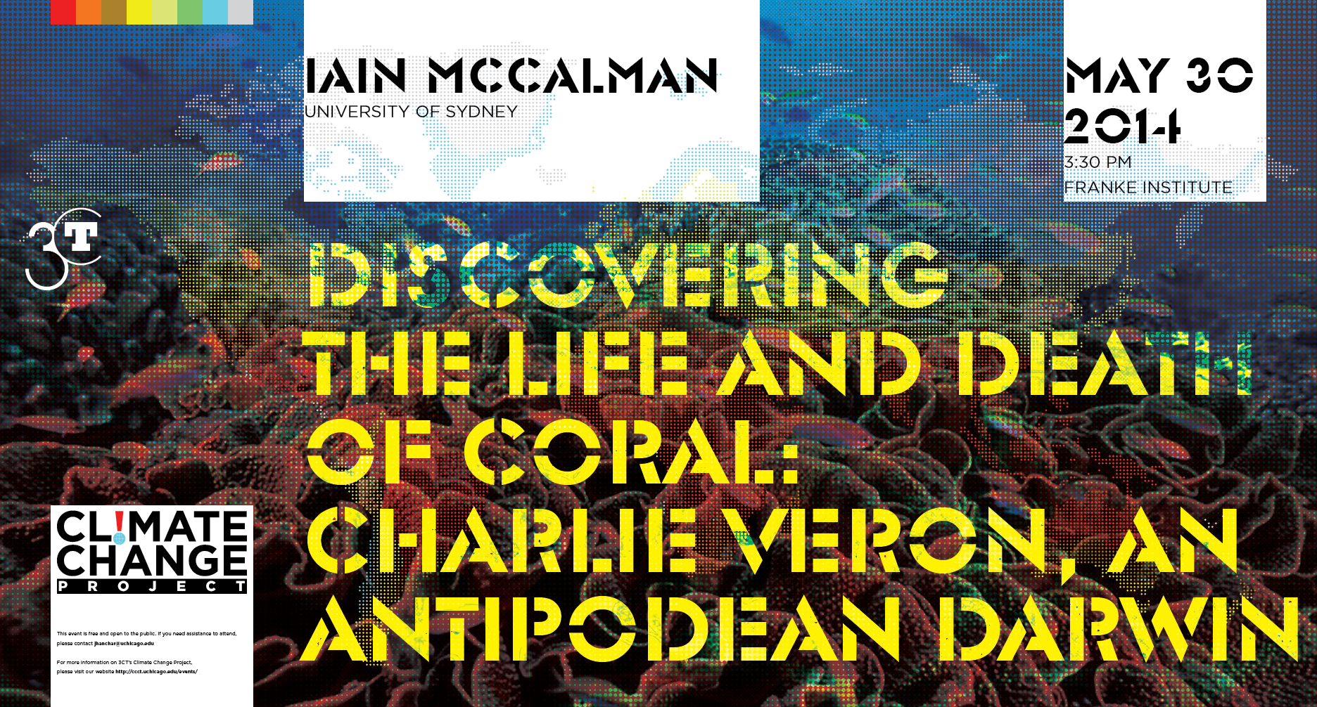 poster for Iain McCalman Climate Change event at the Franke Institute