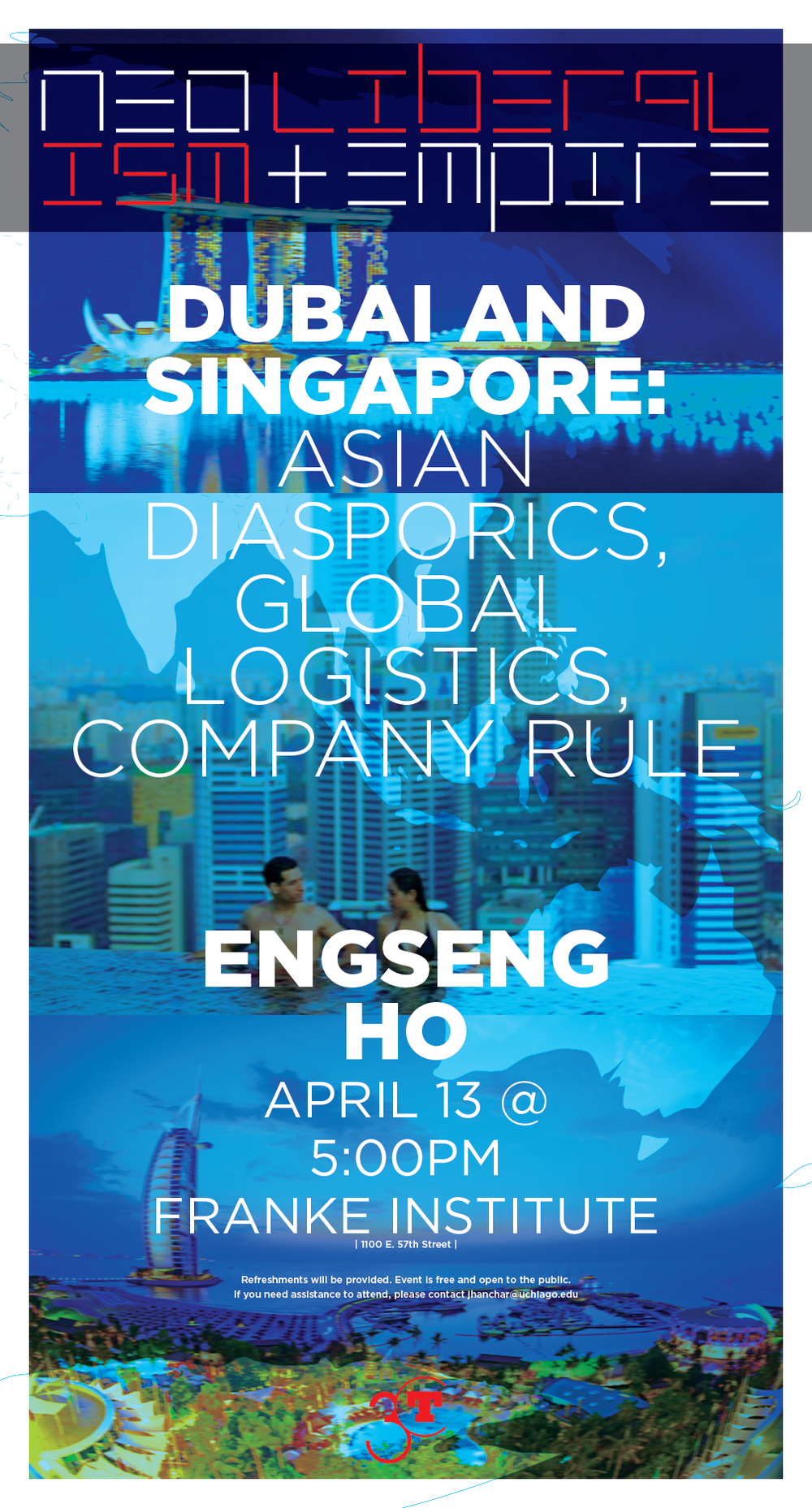 poster for Enseng Ho lecture on Singapore and Dubai at the Franke Institute