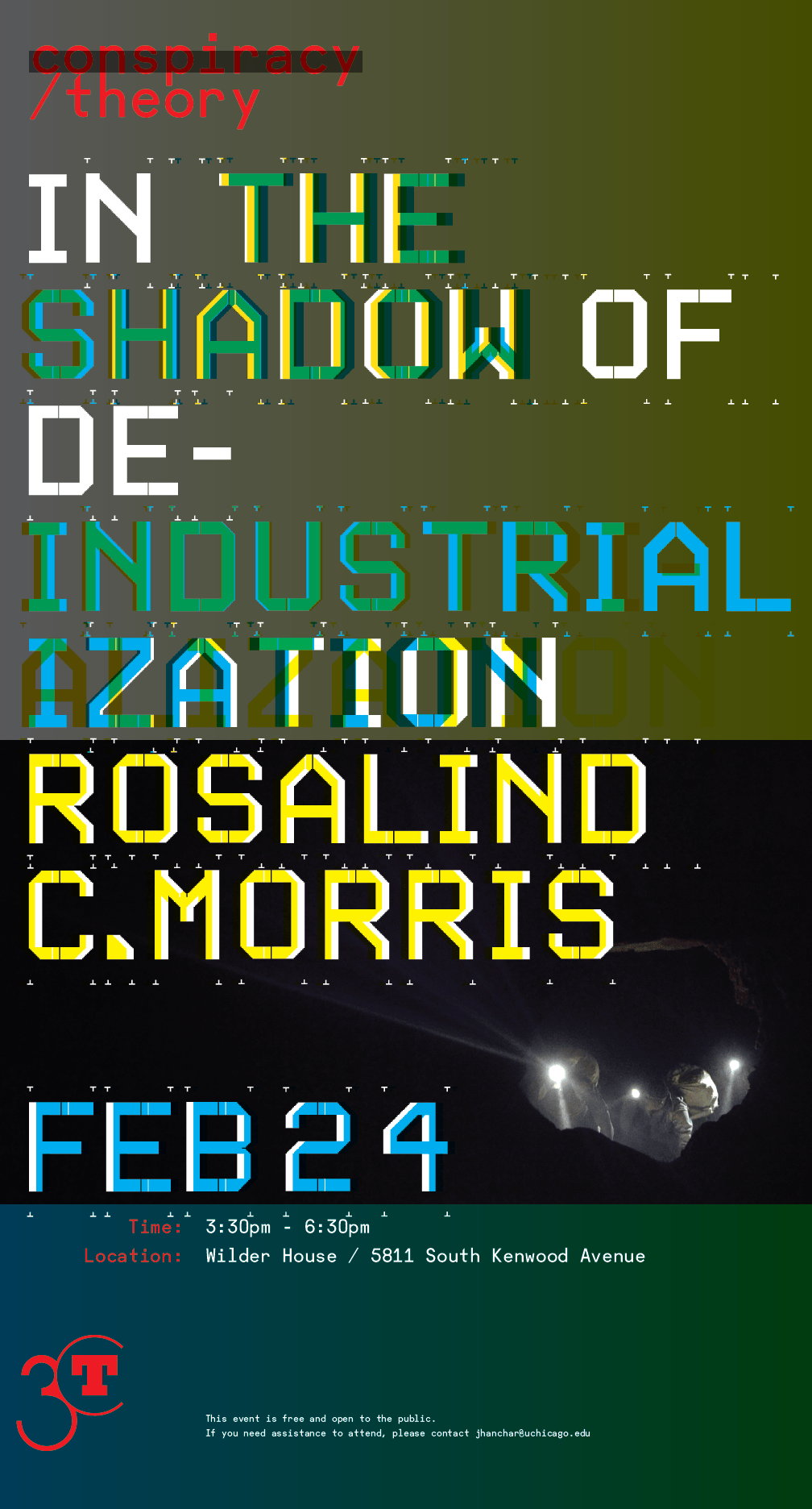 poster for Rosalind C. Morris event at 3CT