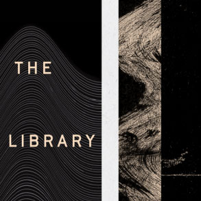 The Library magazine cover with black and brown geometric patterns