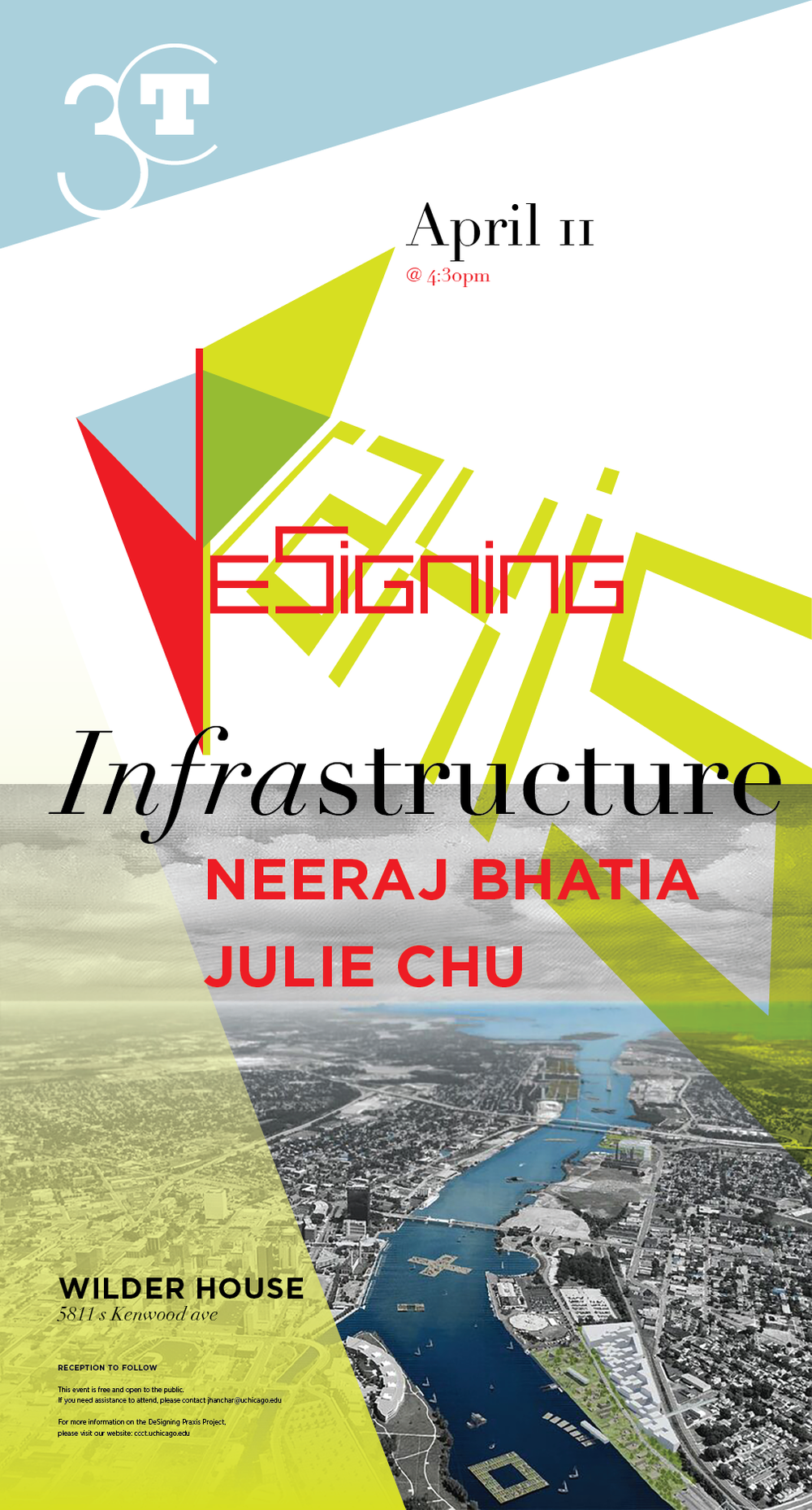 Poster for DeSigning Infrastructure event with Neeraj Bhatia and Julie Chu
