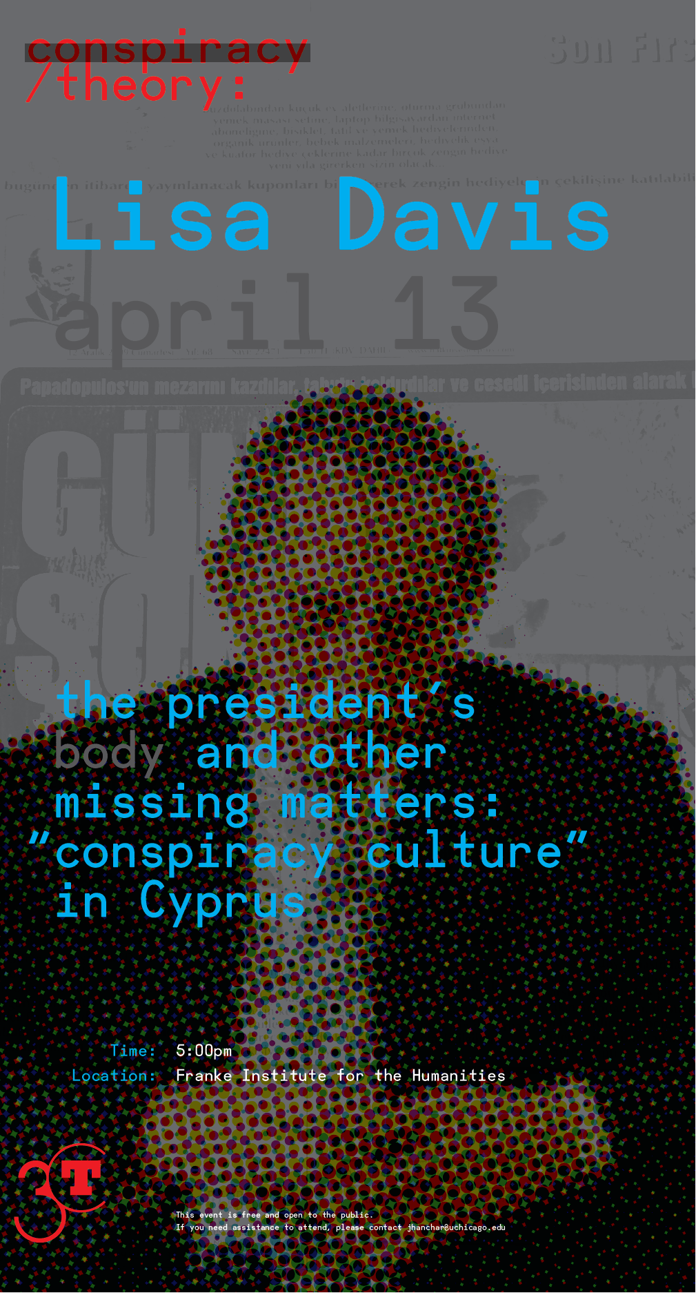 poster for Lisa Davis Conspiracy/Theory event, photo of figure in a suit looking down overlaid with text