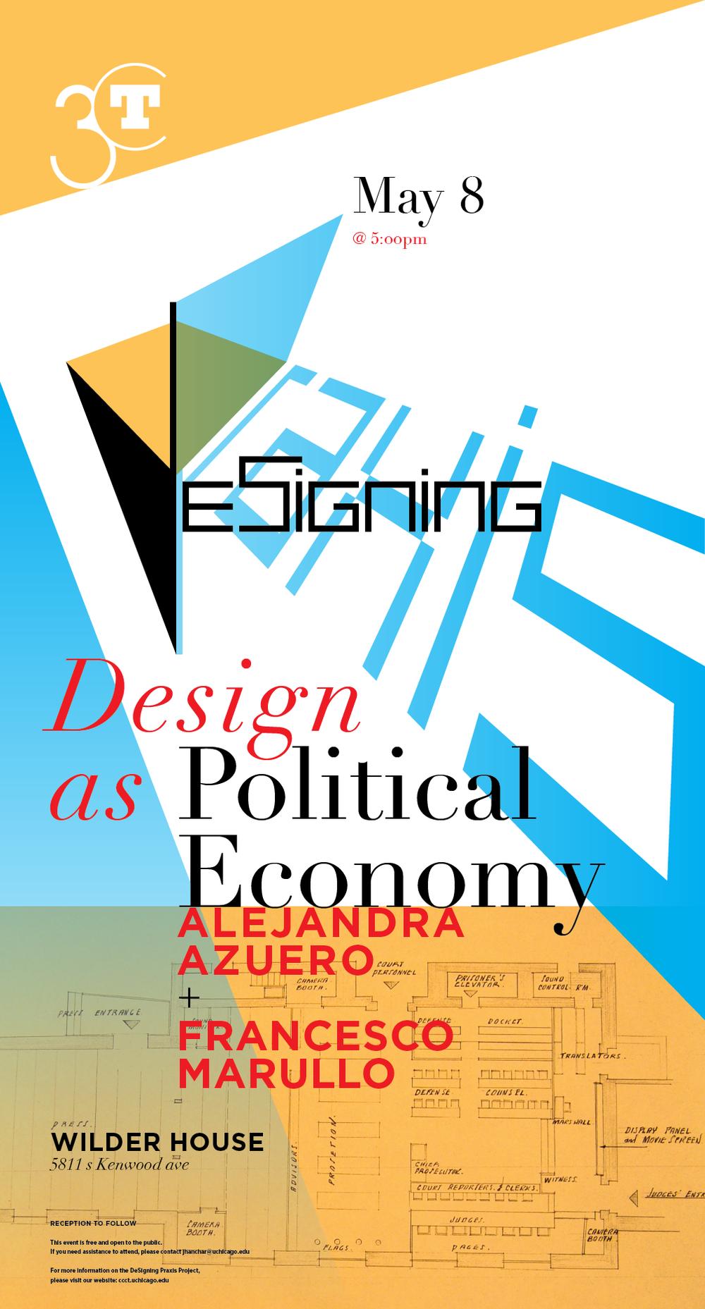 Poster for Design as Political Economy dialogue event with Alejandra Azuero and Francesco Marullo