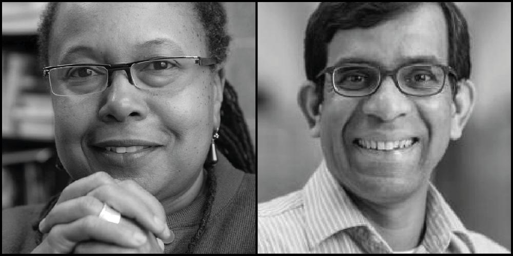 portraits of Cathy Cohen and Kaushik Sunder Rajan