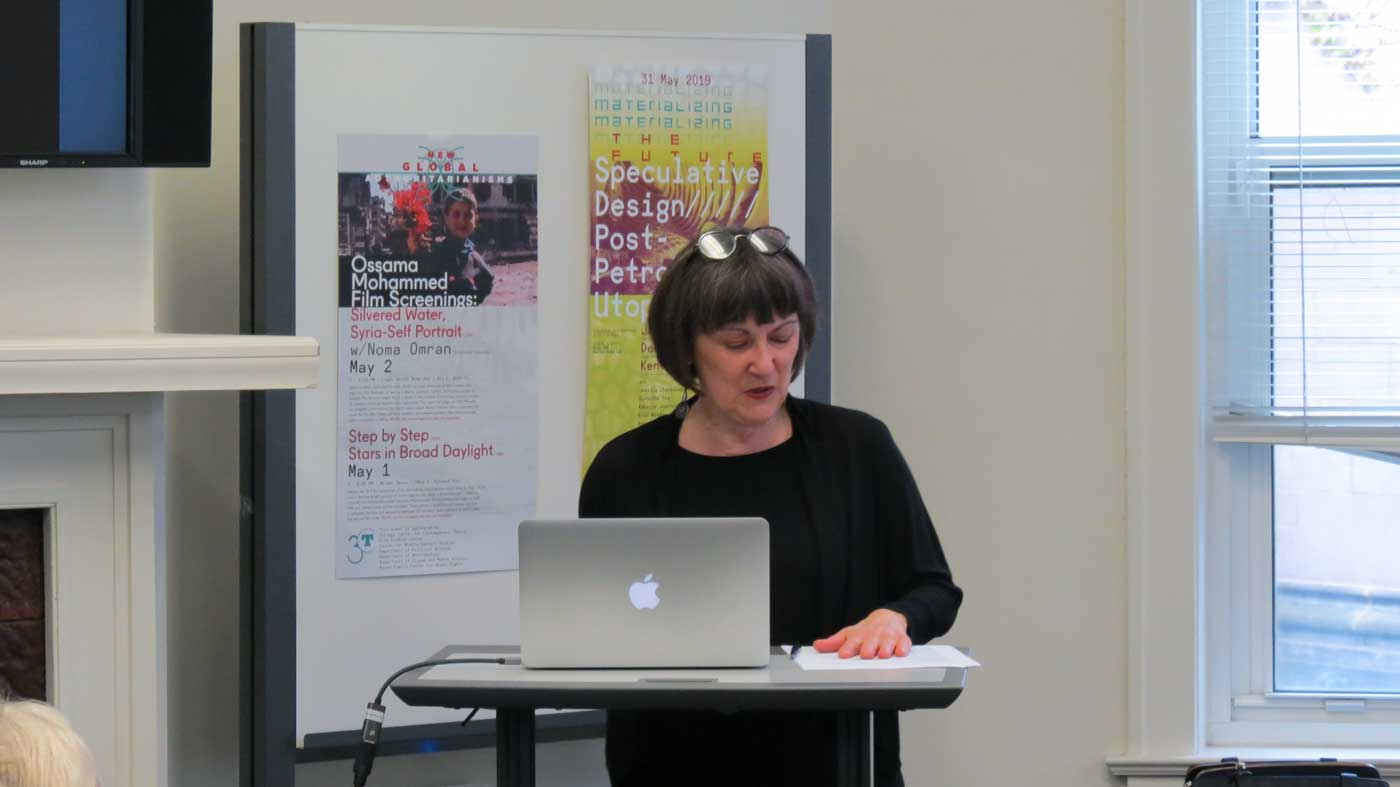 Anne Norton gives a presentation at 3CT's Wilder House