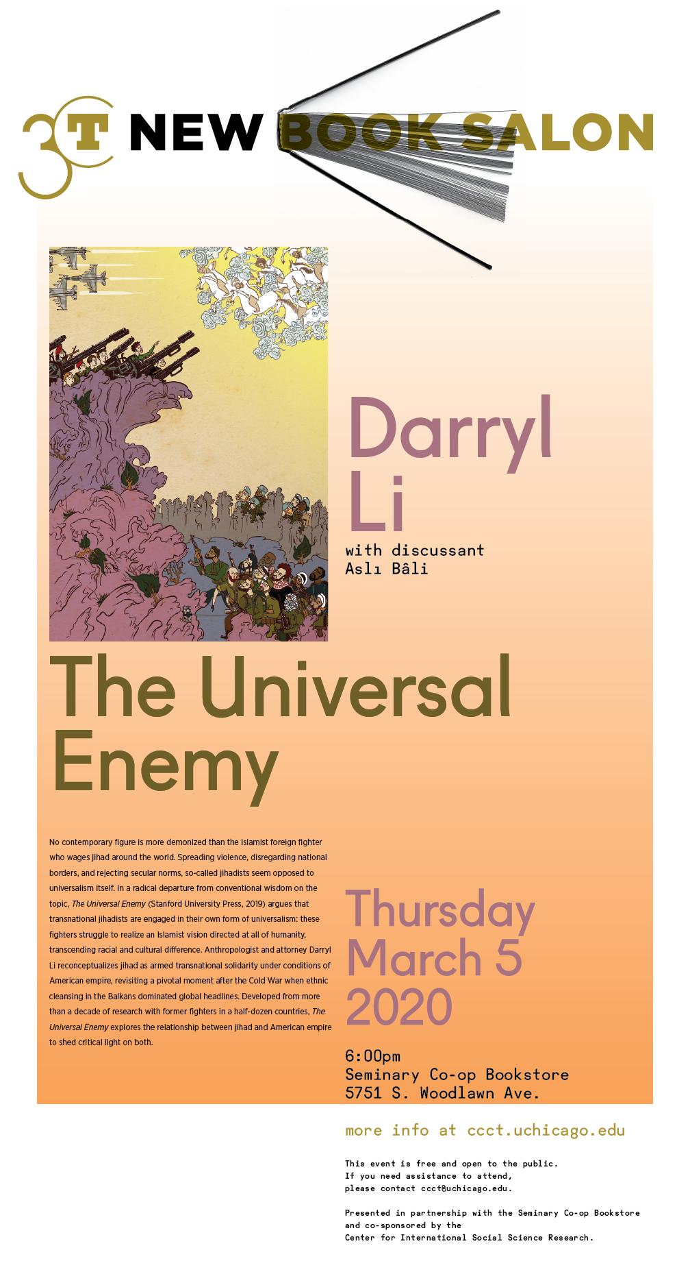 New Book Salon poster for Darryl Li: The Universal Enemy