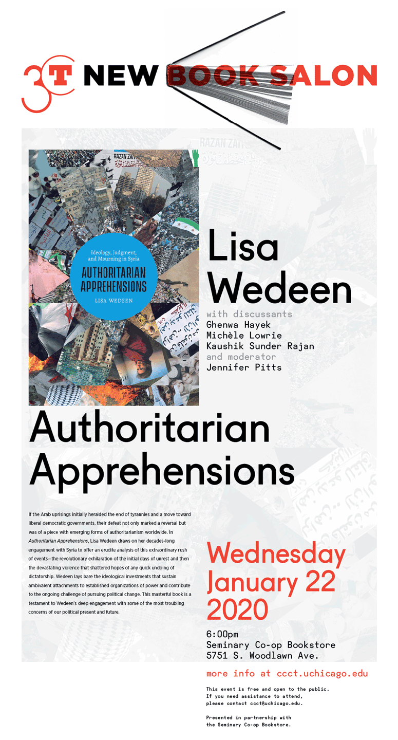 New Book Salon poster for Lisa Wedeen: Authoritarian Apprehensions