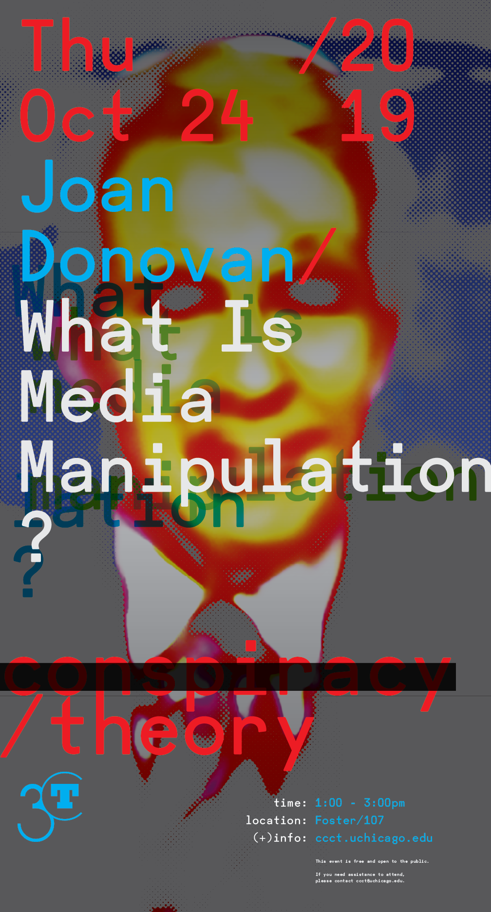 Poster for Joan Donovan What is Media Manipulation? event featuring blurred image of figure in suit