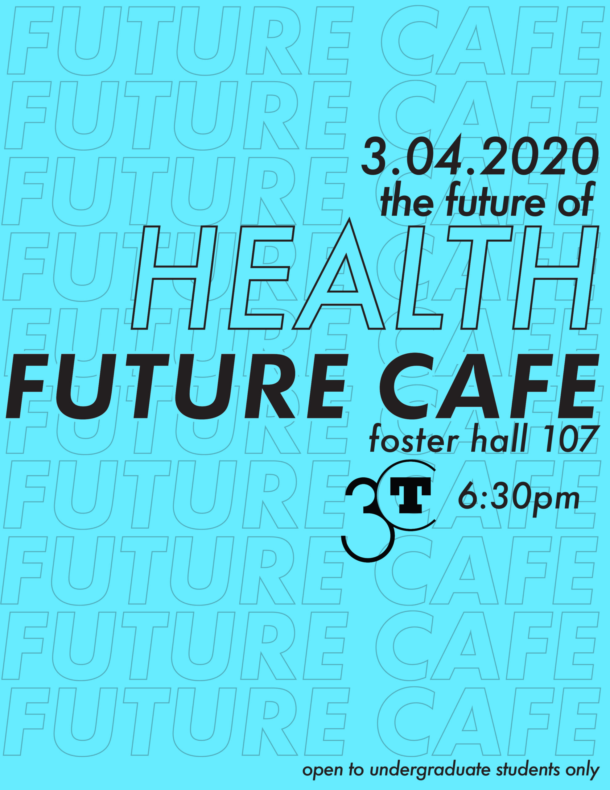 poster for the Future Cafe on Health blue