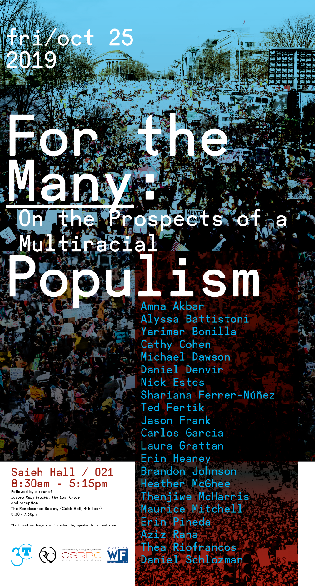 event poster for Multiracial Populism featuring crowd scene overlaid with text