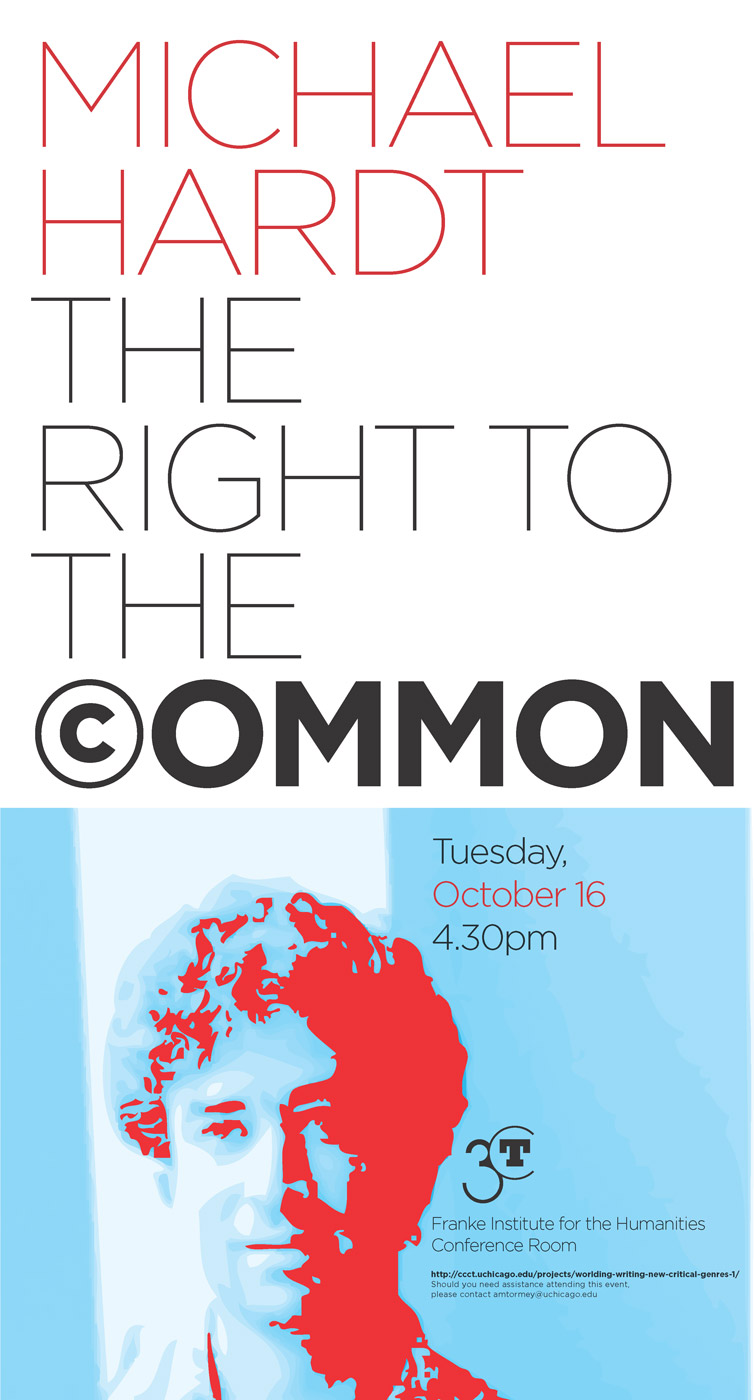 event poster for Michael Hardt, the Right to the Common