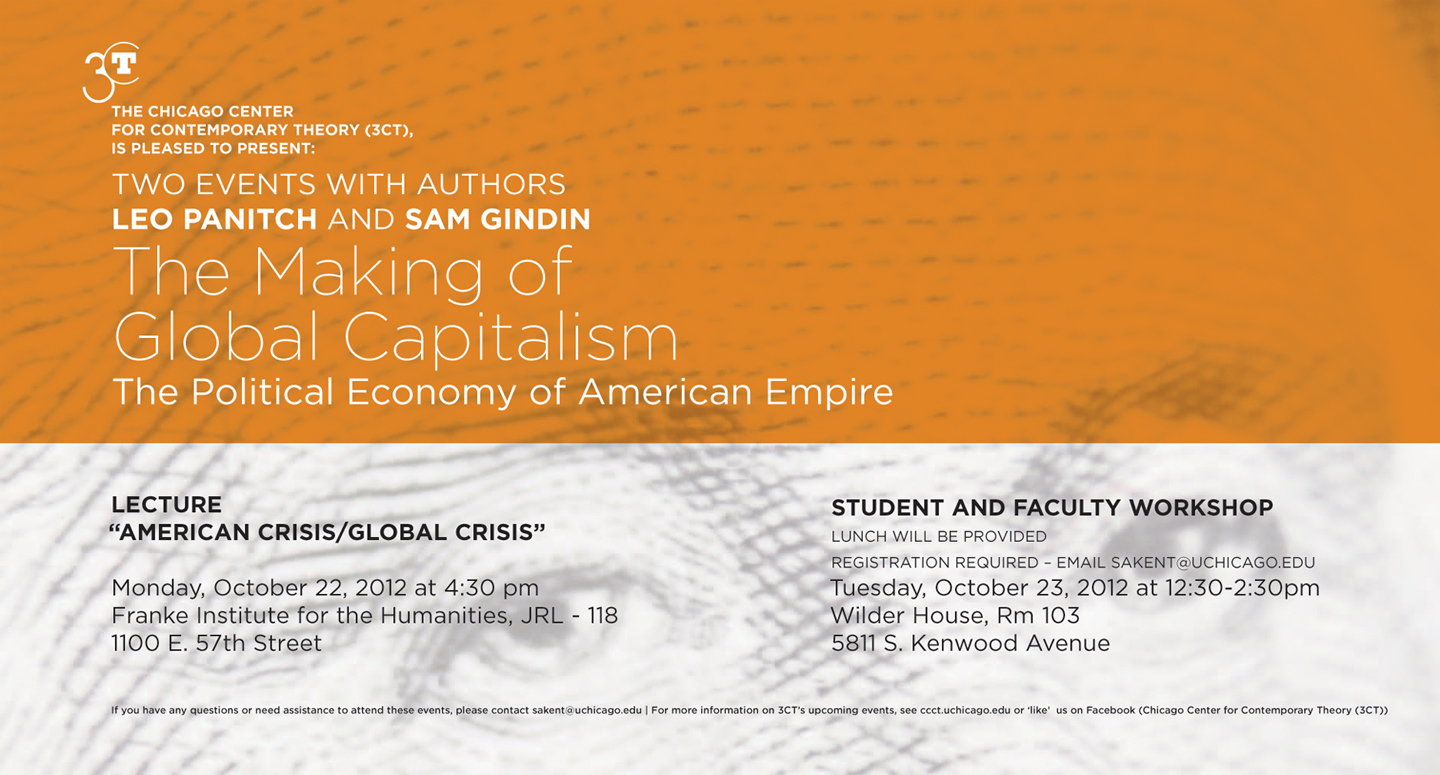 Poster for Leo Panitch and Sam Gindin event, The Making of Global Capitalism