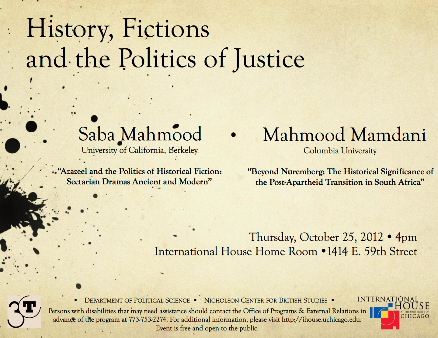 poster for Mahmood and Mamdani event: History, Fictions, and the Politics of Justice
