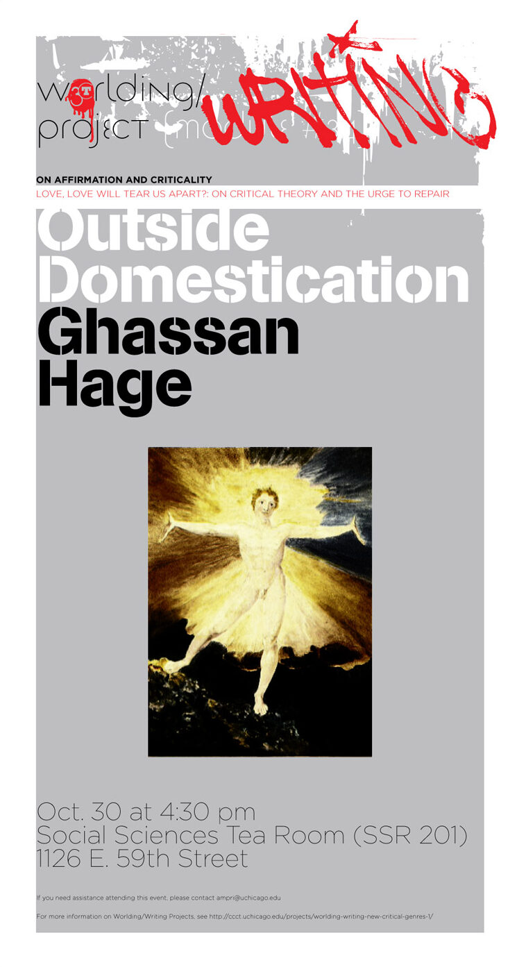 event poster for Ghassan Hage, Outside Domestication