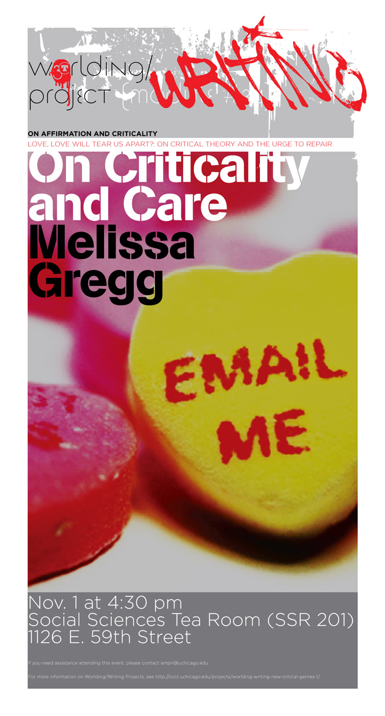 Poster for Melissa Gregg, On Criticality and Care event