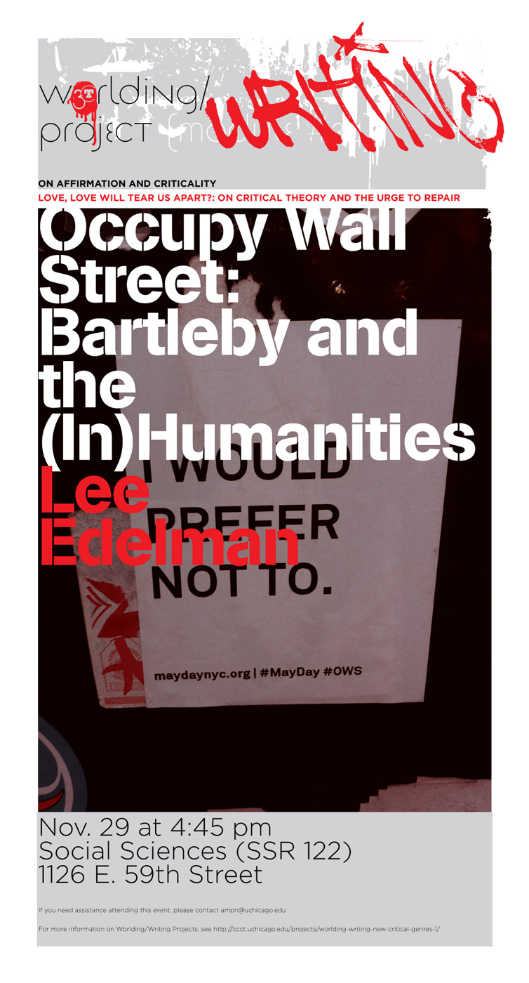 event poster for Lee Edelman, Occupy Wall-Street: Bartleby and the (in)Humanities