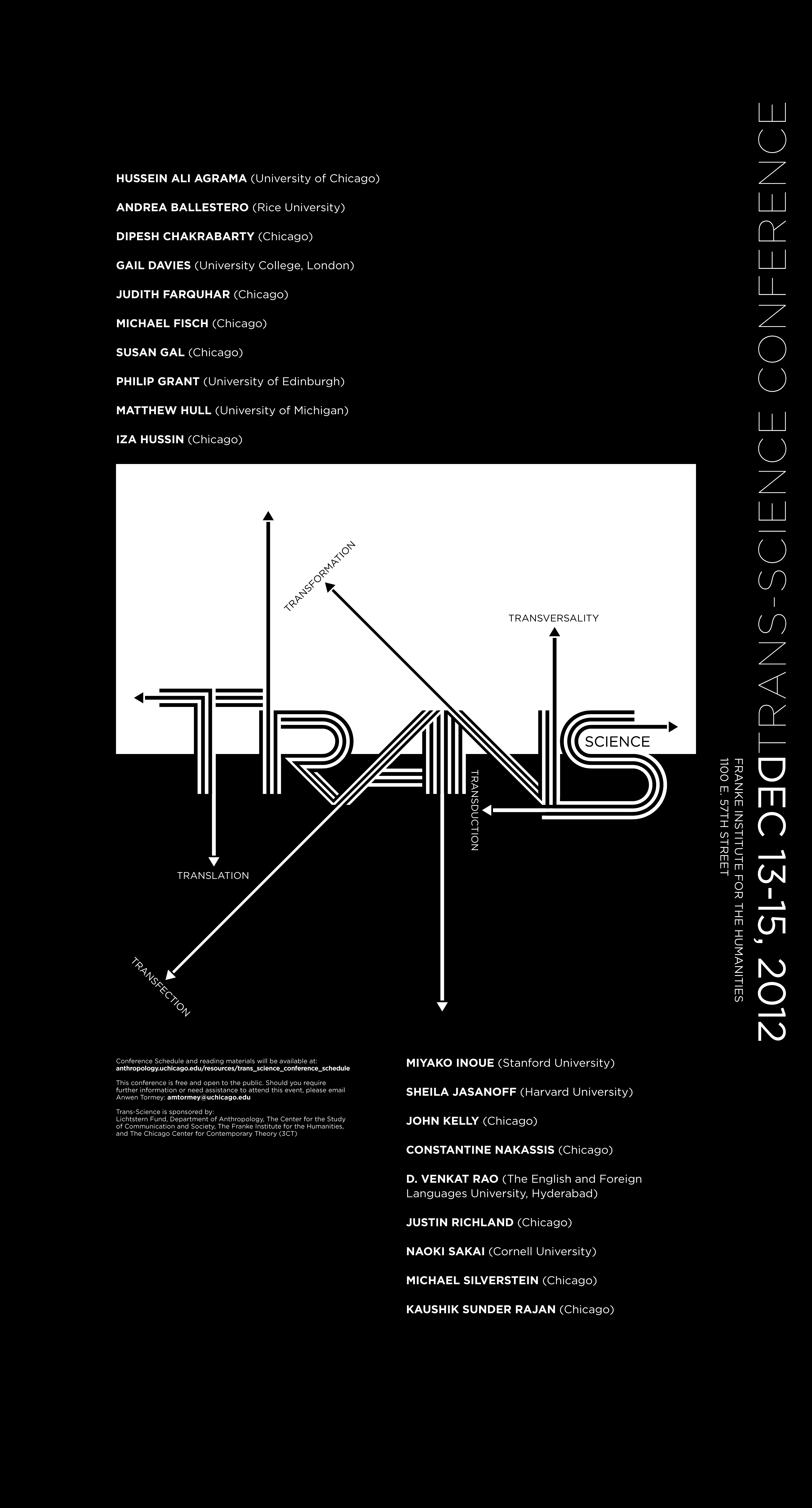 poster for the 2012 Trans-Science conference at the Franke Institute for the Humanities