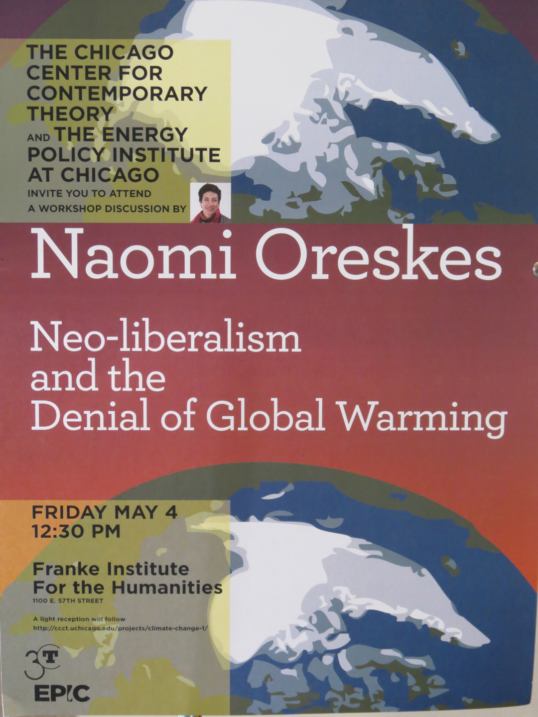 poster for the 2012 Naomi Oreskes event on Climate Change and Neo-Liberalism