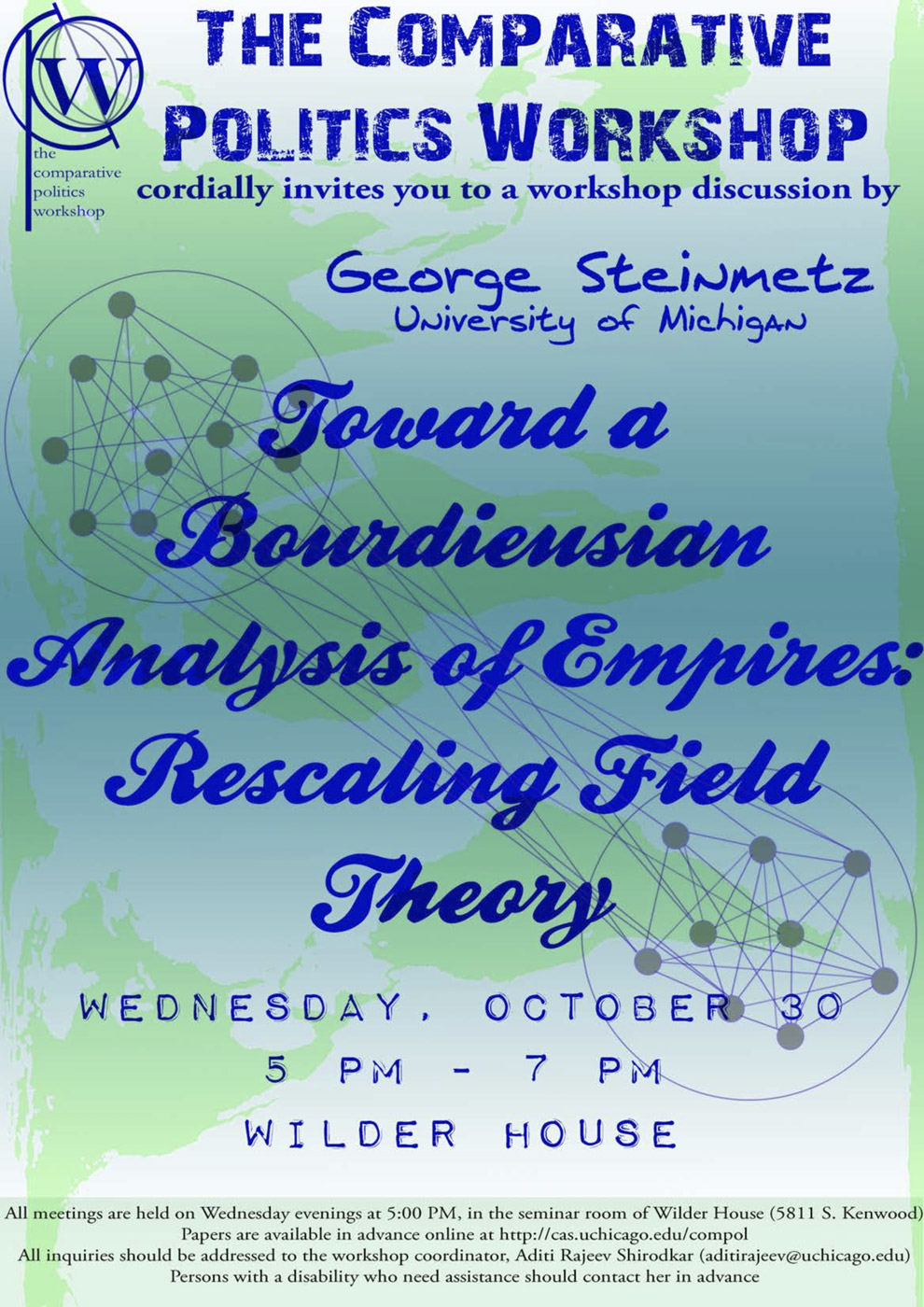 event poster for George Steinmetz, Toward a Bourdieusian Analysis of Empires: Rescaling Field Theory