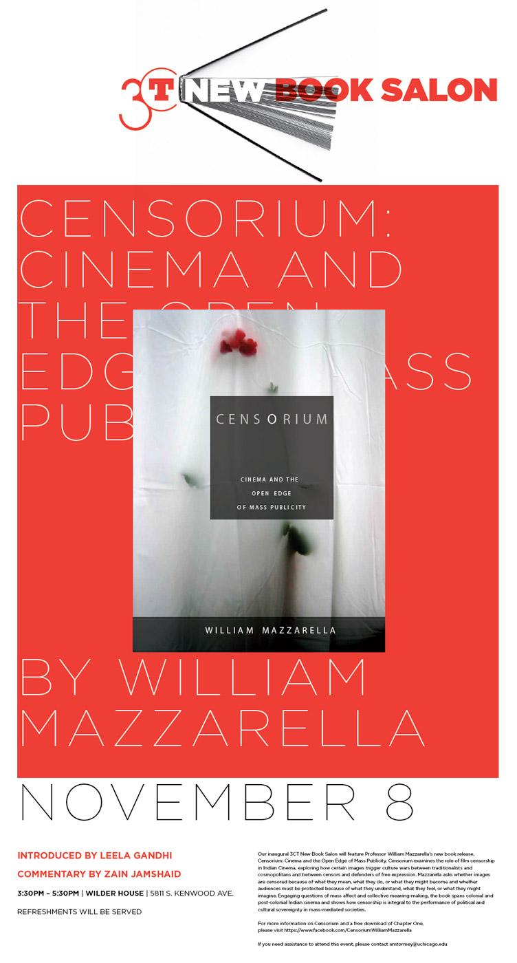 event poster for William Mazzarella New Book Salon: Cinema and the Open Edge of Mass Publicity