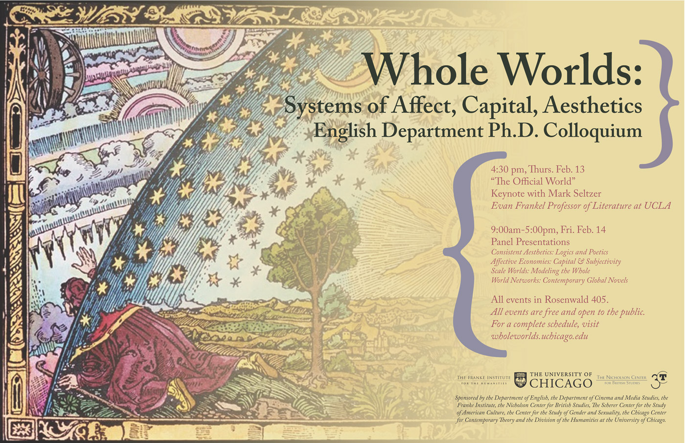 event poster for Whole Worlds conference, system of affect, capital, aesthetics