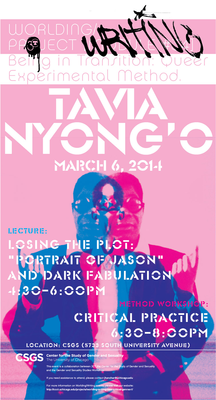 event poster for Tavia Nyong'o, Losing the Plot: Queer Digressions on the New Ontology