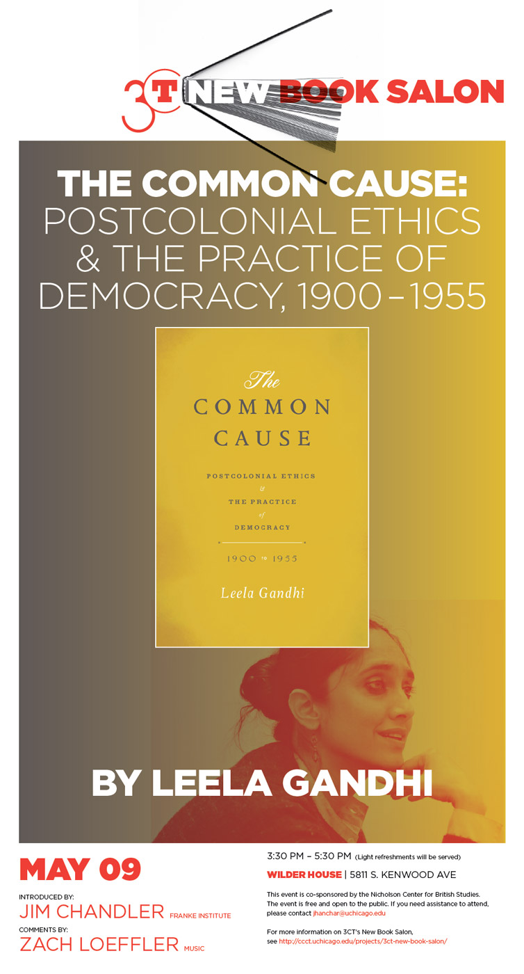 event poster for Leela Gandhi, The Common Cause: Postcolonial Ethics