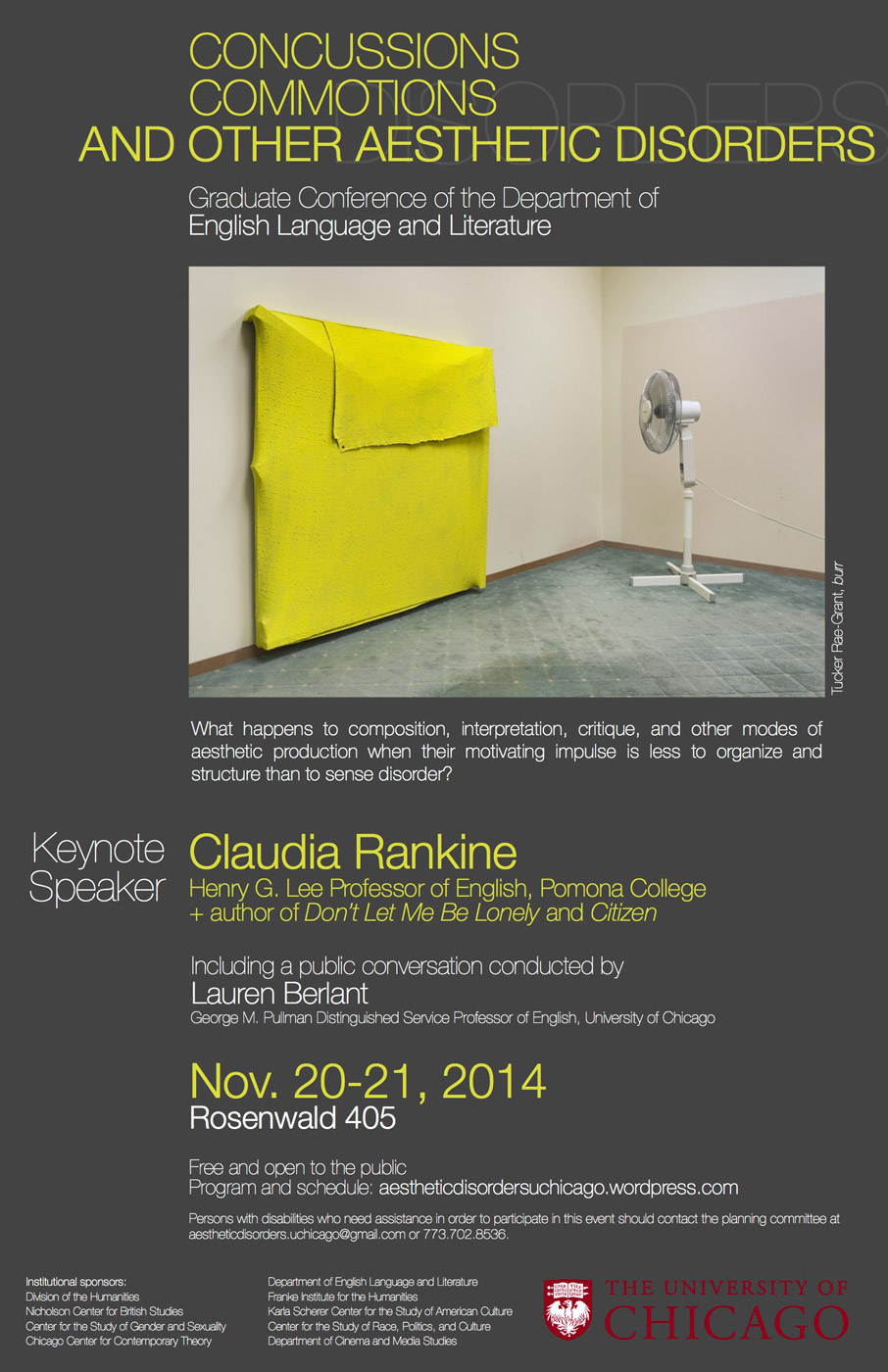 event poster for Claudia Rankine: concussions, commotions, and other aesthetic disorders