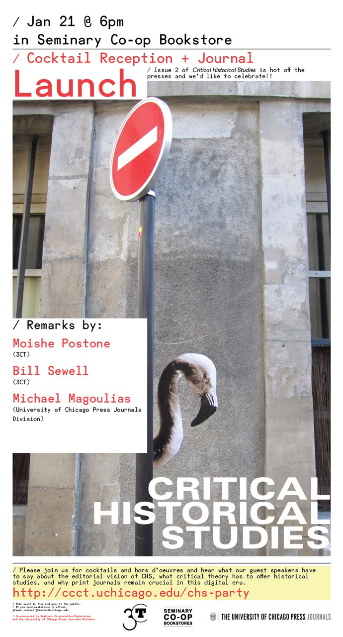 event poster for the Critical Historical Studies Launch Party