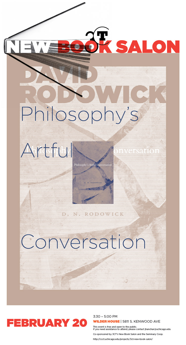event poster for the New Book Salon for David Rodowick, Philosophy's Artful Conversation