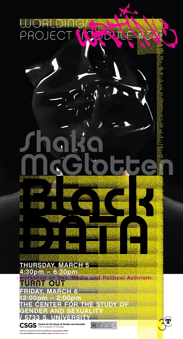 Shaka McGlotten event poster, workshop on sex, media, and political activism: Turnt Out, Black Data