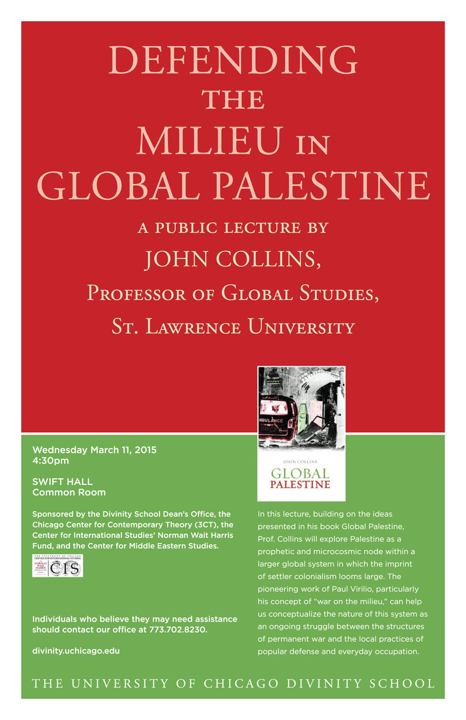 event poster for John Collins, Defending the Milieu in Global Palestine