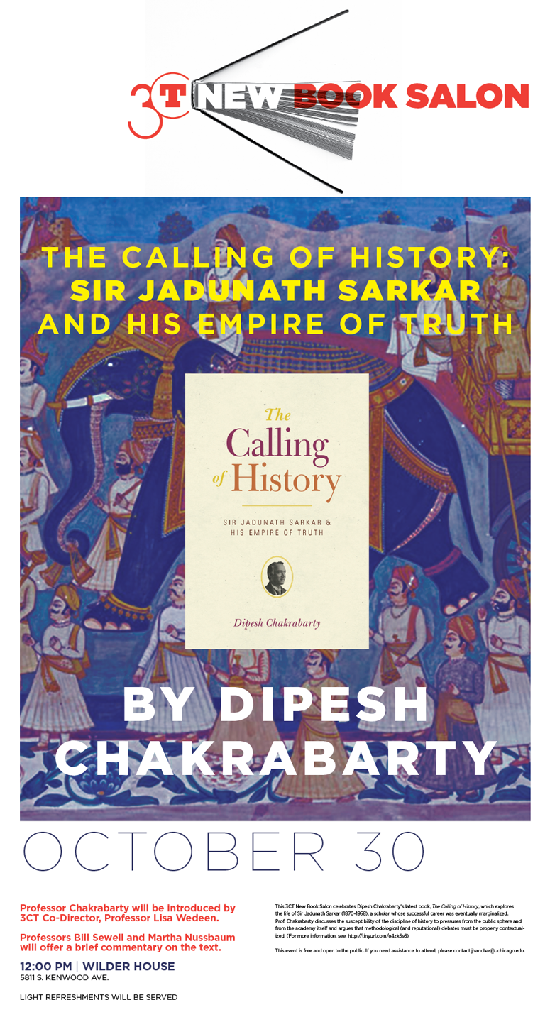 Dipesh Chakrabarty New Book Salon poster for The Calling of History