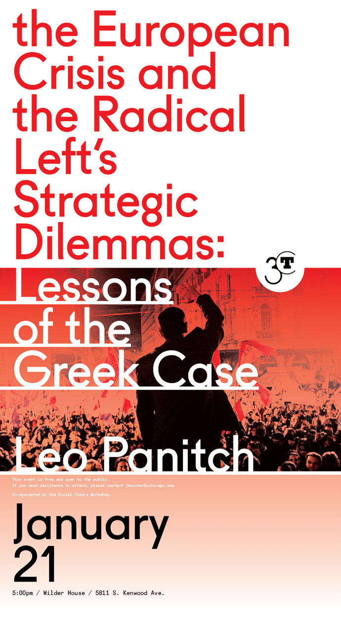 Poster for Leo Panitch event, the European Crisis and the Radical Left's Strategic Dilemmas