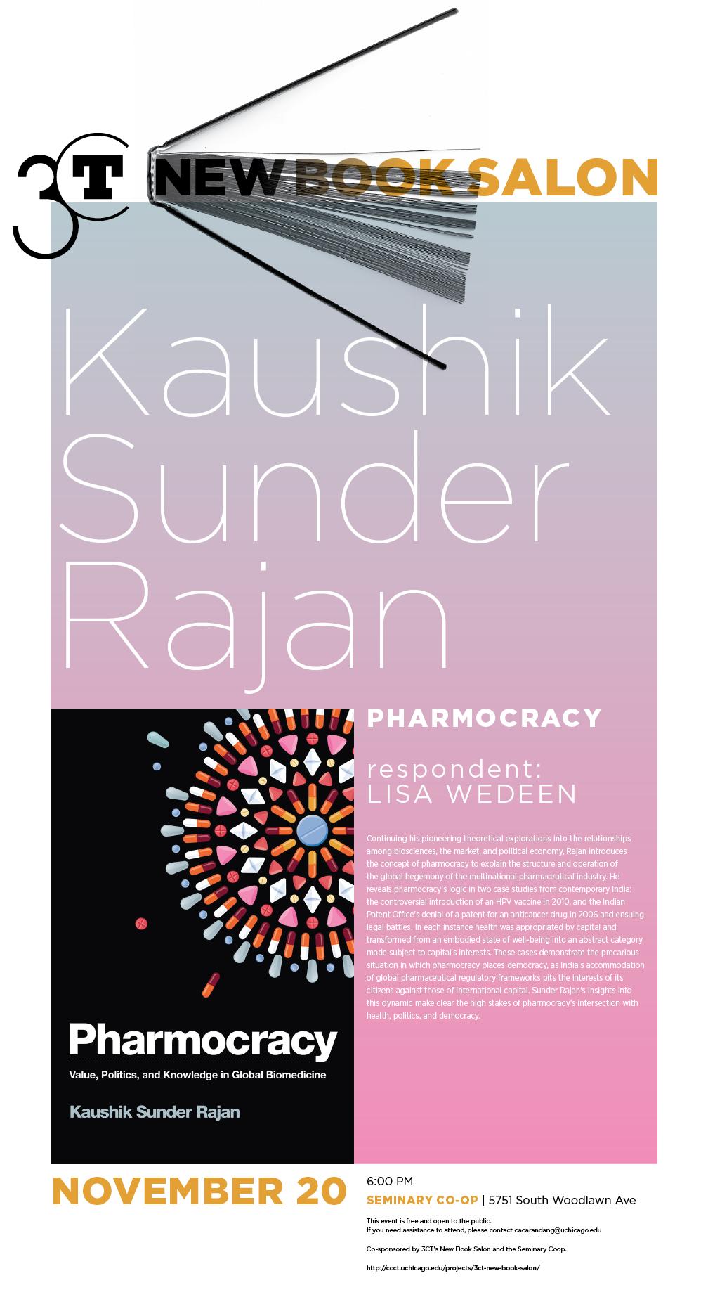 event poster for Kaushik Sunder Rajan's new book Pharmocracy