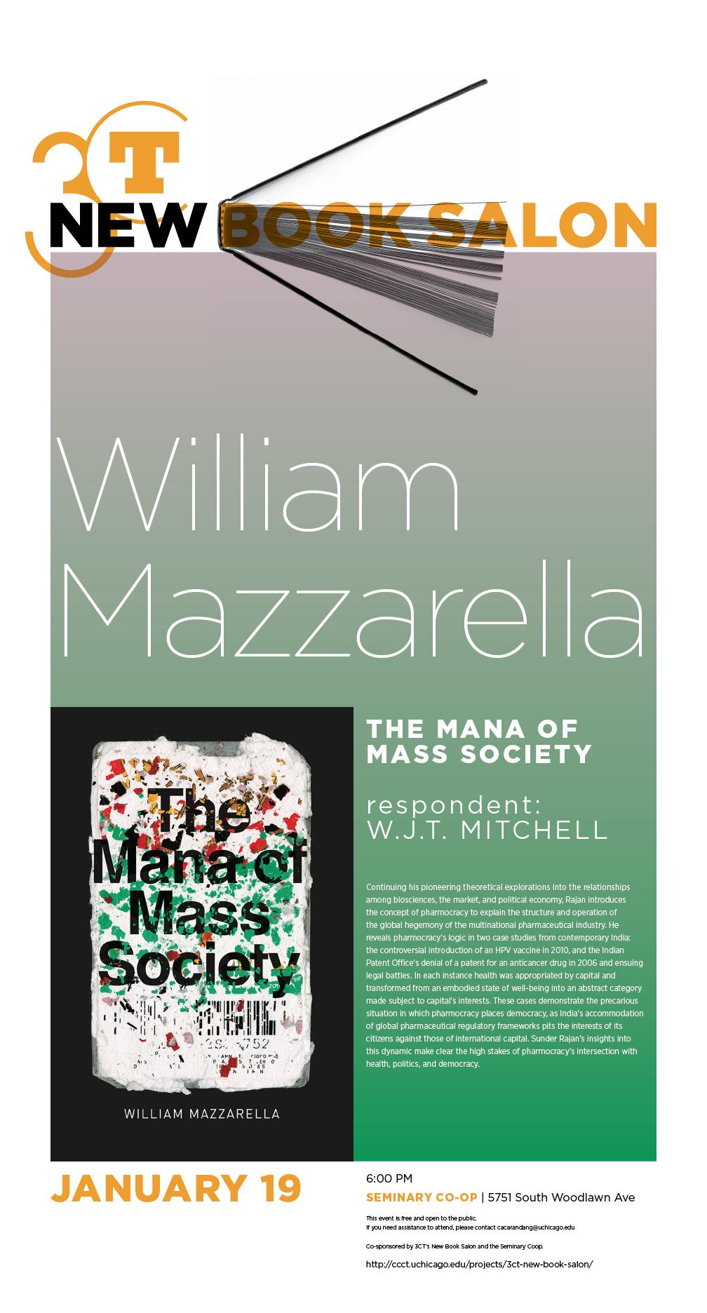 William Mazzarella New Book Salon poster, The Mana of Mass Society