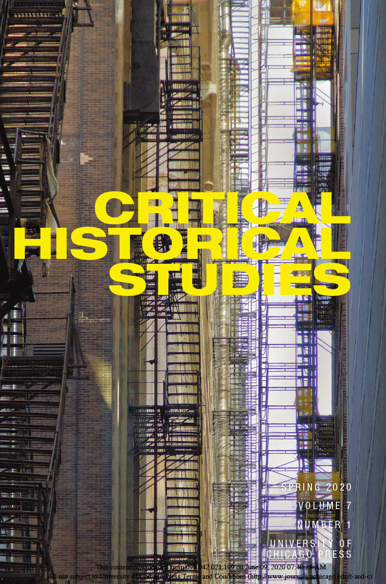cover of Spring 2020 issue of Critical Historical Studies journal
