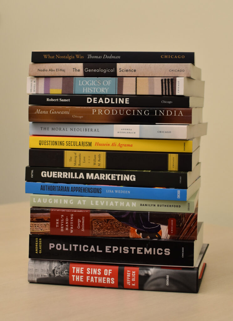Stack of books in the Chicago Studies in Practices of Meaning series