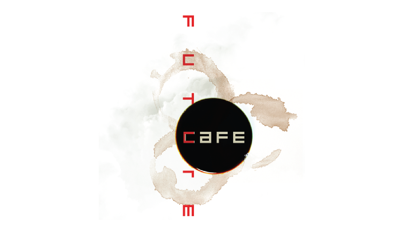 """Future Cafe"" stylized text over photo of coffee stains on white paper"