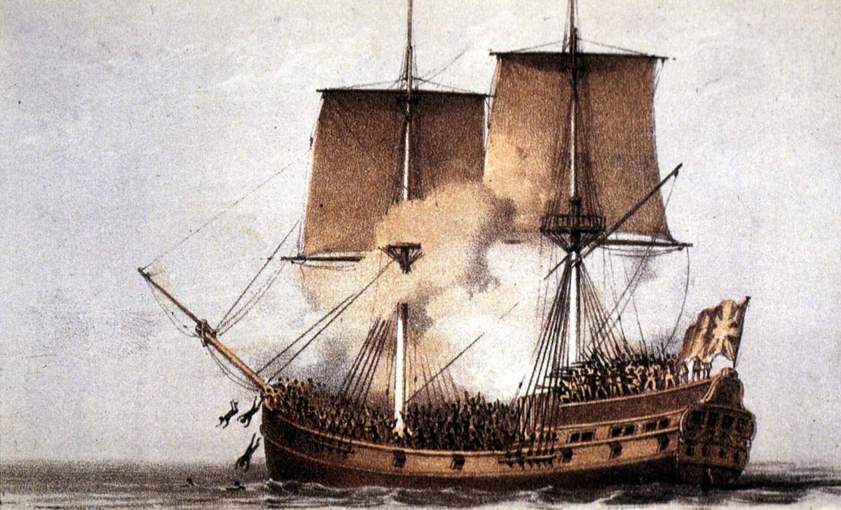 painting of an 18th-century sailing vessel engulfed in smoke
