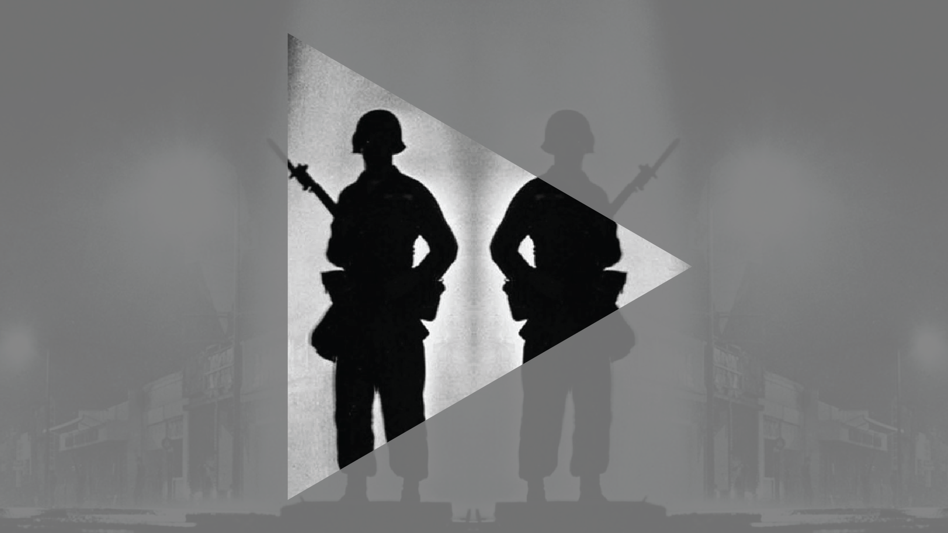 black and white image of silhouetted figures of soldiers with guns with overlaying triangle cutout