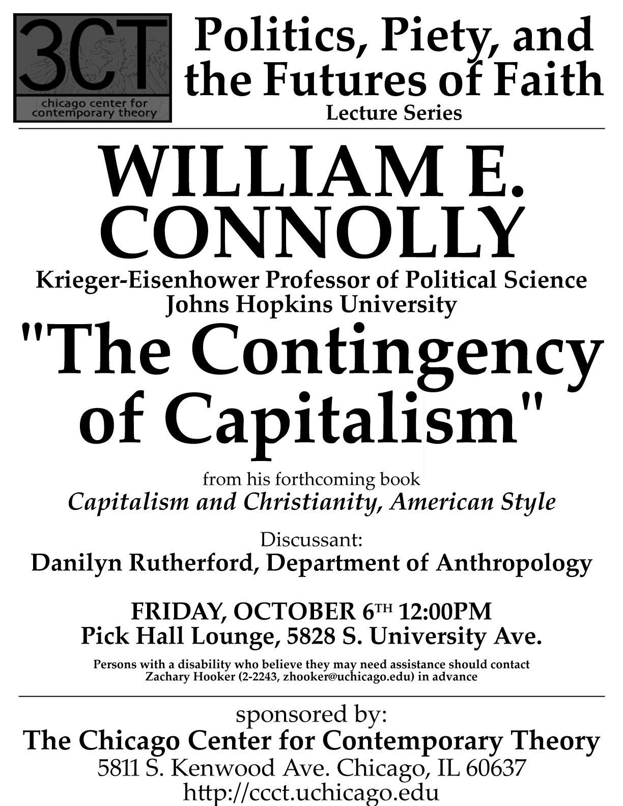 poster for 2006 William E. Connolly lecture at 3CT