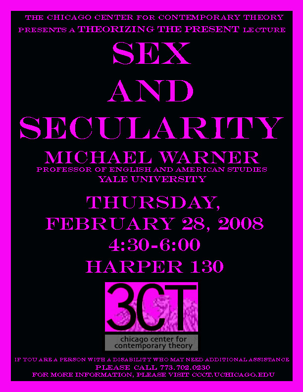 poster for 2008 Michael Warner lecture at 3CT
