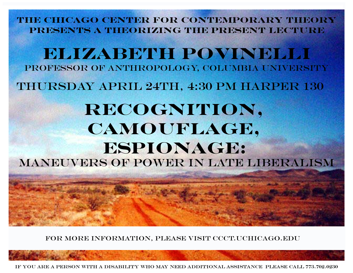poster for 2008 Povinelli lecture at 3CT showing a wide view over a desert under a cloud-specked blue sky