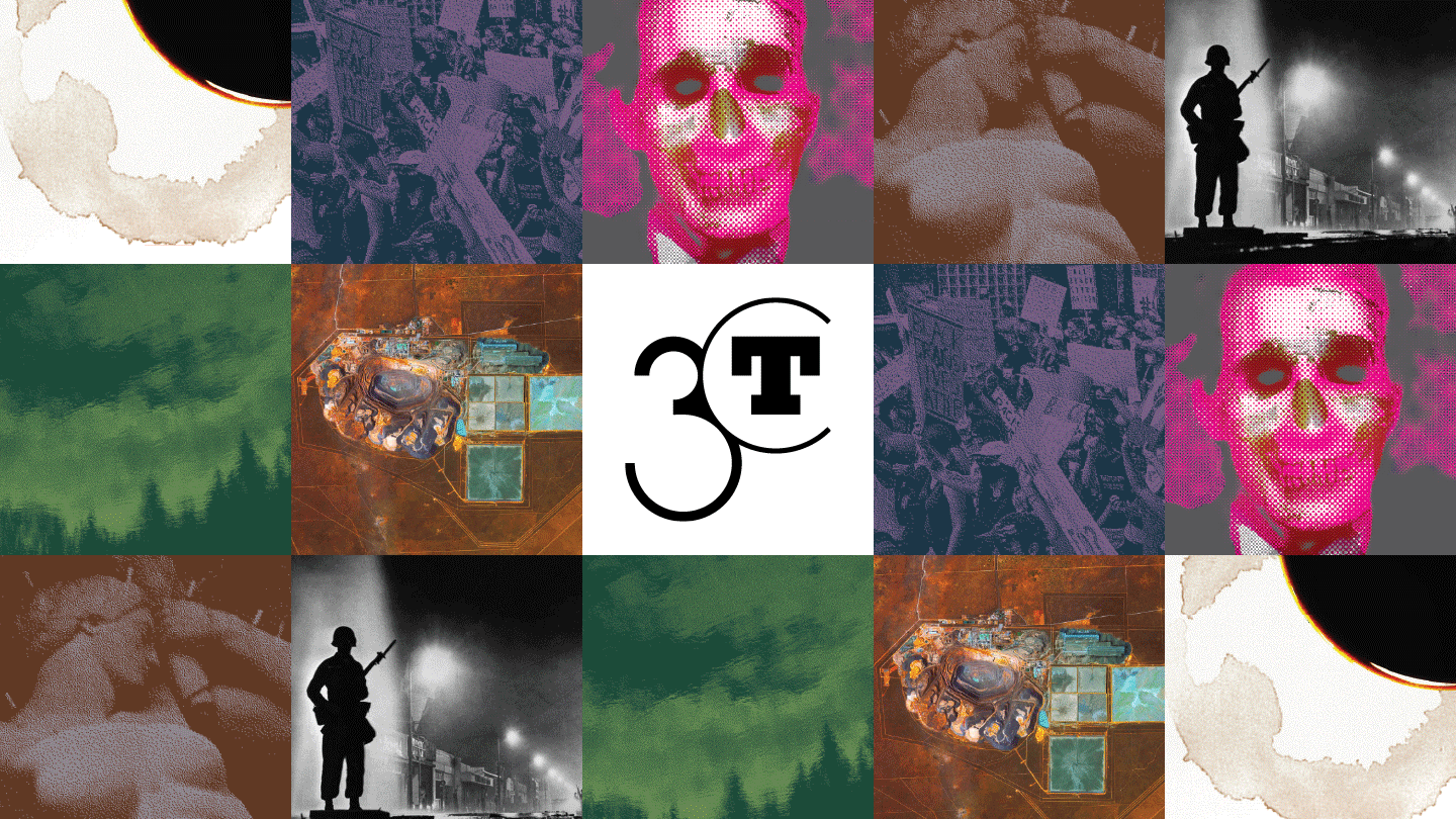 collage of 3CT event graphics from Autumn 2020 and Winter 2021 with 3CT logo in the middle