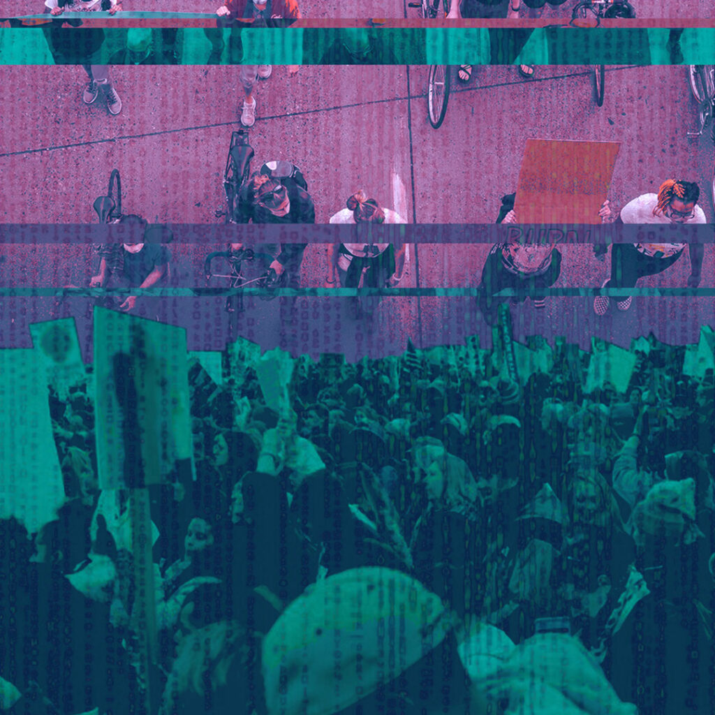 Teal and purple photo illustration of protest images