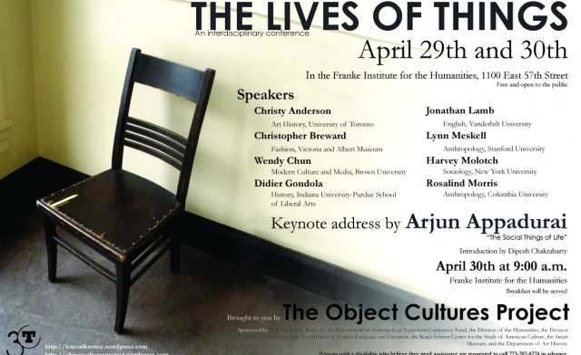 event poster featuring an image of a chair in a corner overlaid with conference title and speakers in black text