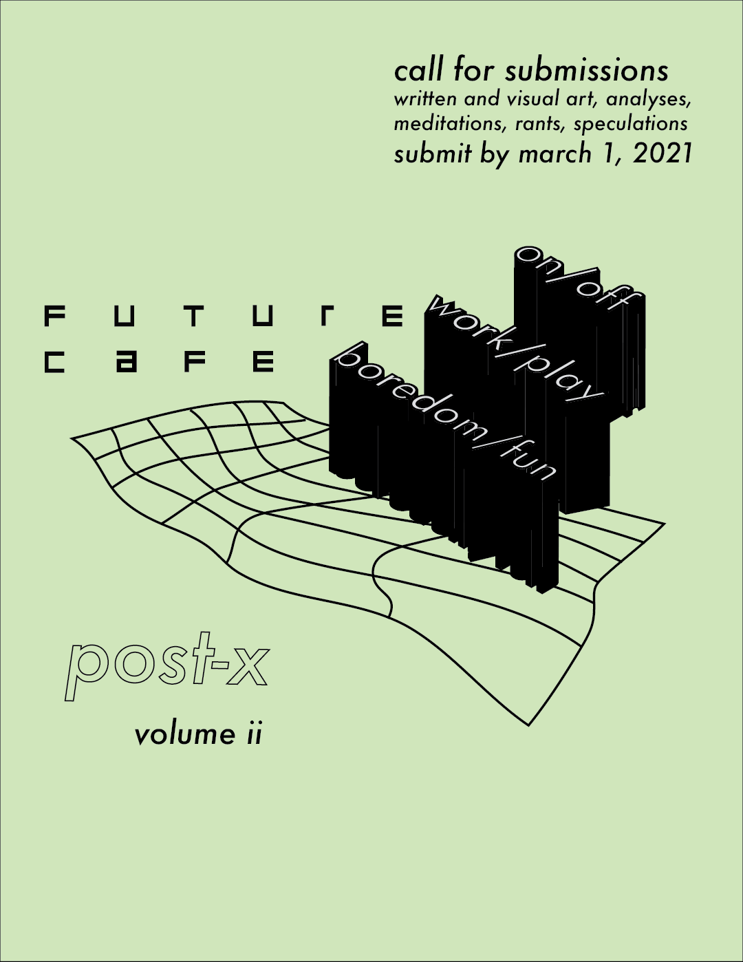 Future cafe post-x volume 2 poster; text art reading